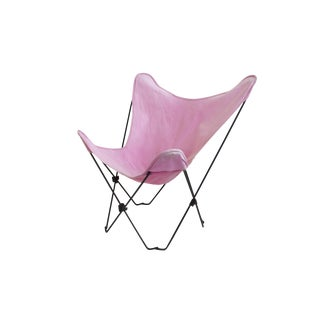 Folding Butterfly Chair in Pink Canvas For Sale
