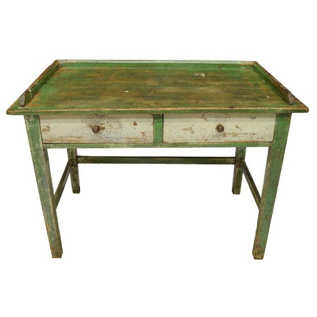 Scandinavian Painted Pine Work Table For Sale - Image 4 of 4
