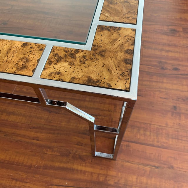 Metal Chrome and Burl Wood Chippendale Style Square Coffee Table For Sale - Image 7 of 9