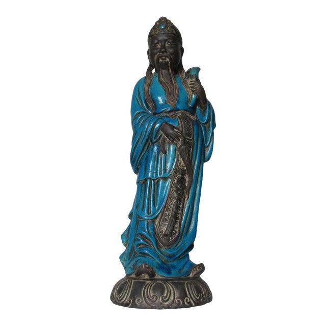 C1950s Rare Italian Ugo. Zaccagnini Terra Cotta Crackle Glaze Persian Blue Asian Figure For Sale