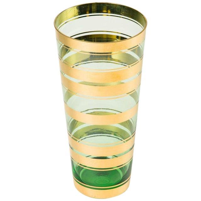 Mid-Century Modern Blown Glass Vase With 24-Karat Gold Details For Sale