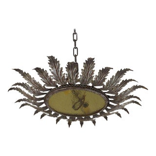 Spanish Metal Ceiling Fixture With Tinted Glass For Sale