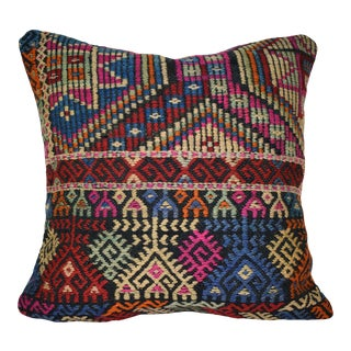 Shabby Chic Turkish Kilim Pillow Cover, Square Jajim Cushion Case 20'' X 20'' (50 X 50 Cm) For Sale