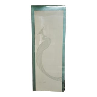 Set of 6 Art Deco Bolae Signed Vintage Etched Peacock Tempered Glass Panel - For Sale