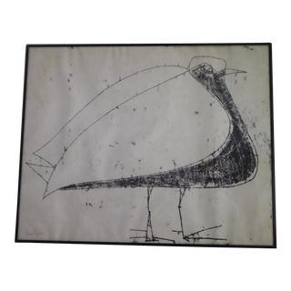 "Mid Century ""Angry Bird"" Print by Listed French Artist Jacques Pouchain For Sale"