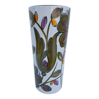 Italian Art Hand-Painted Ceramic Glaze Umbrella Stand.
