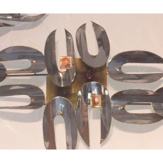 C. Jere Chrome & Brass Wall Sculptures - A Pair - Image 5 of 6