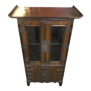 1920s Campaign Style Elmwood Cabinet For Sale