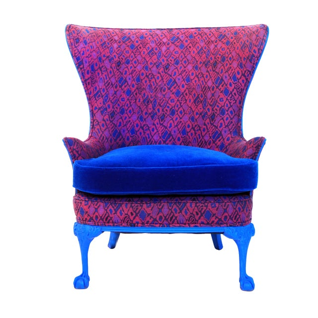 Amazing 1920S Vintage Cobalt Blue Retro Wingback Accent Chair Gamerscity Chair Design For Home Gamerscityorg