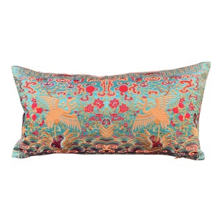 Hollywood Regency Turquoise & Gold Silk Embroidered Chinoiserie Boudoir Pillow For Sale