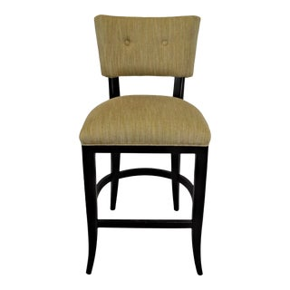 Contemporary Counter Stool With Espresso Wood Frame and Linen Blend Weave Fabric For Sale