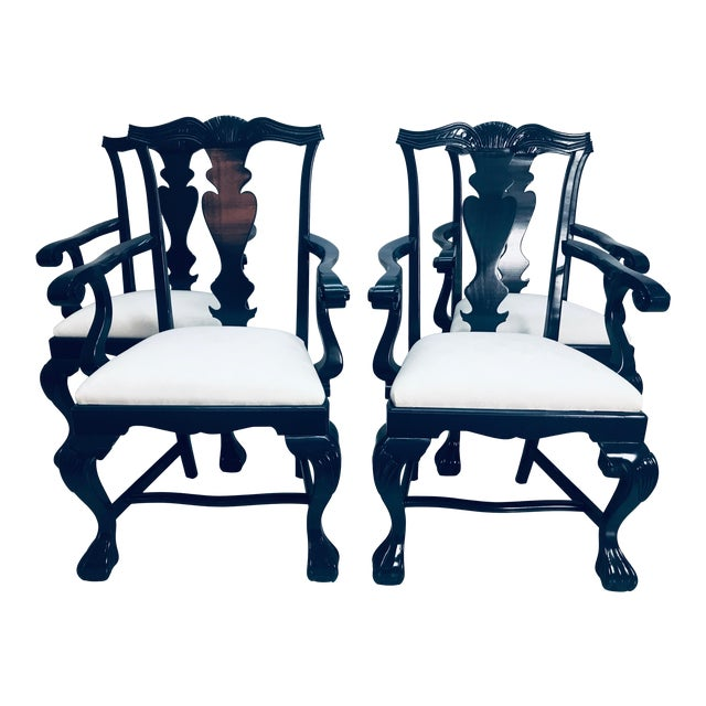 1960s Vintage Traditional Oak Chippendale Chairs - Set of 4 For Sale