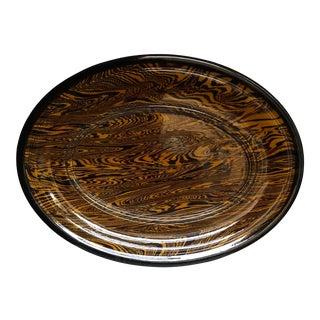 Vintage Marbled Slip Ware Platter For Sale
