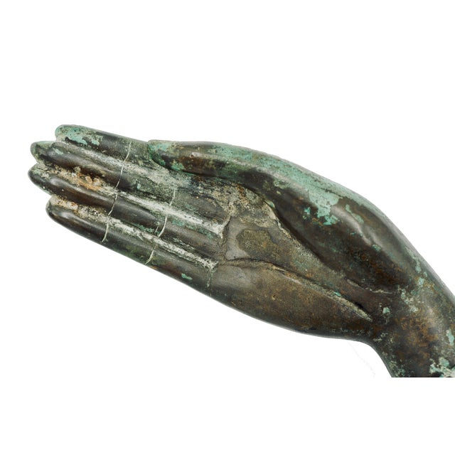 Vintage Bronze Hand Statue For Sale - Image 4 of 9