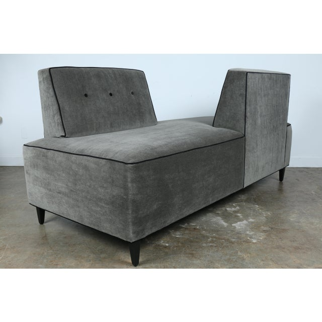Beautiful just reupholstered modern style sofa. Has been reupholstered with Mohair fabric and black pipping. Very well...