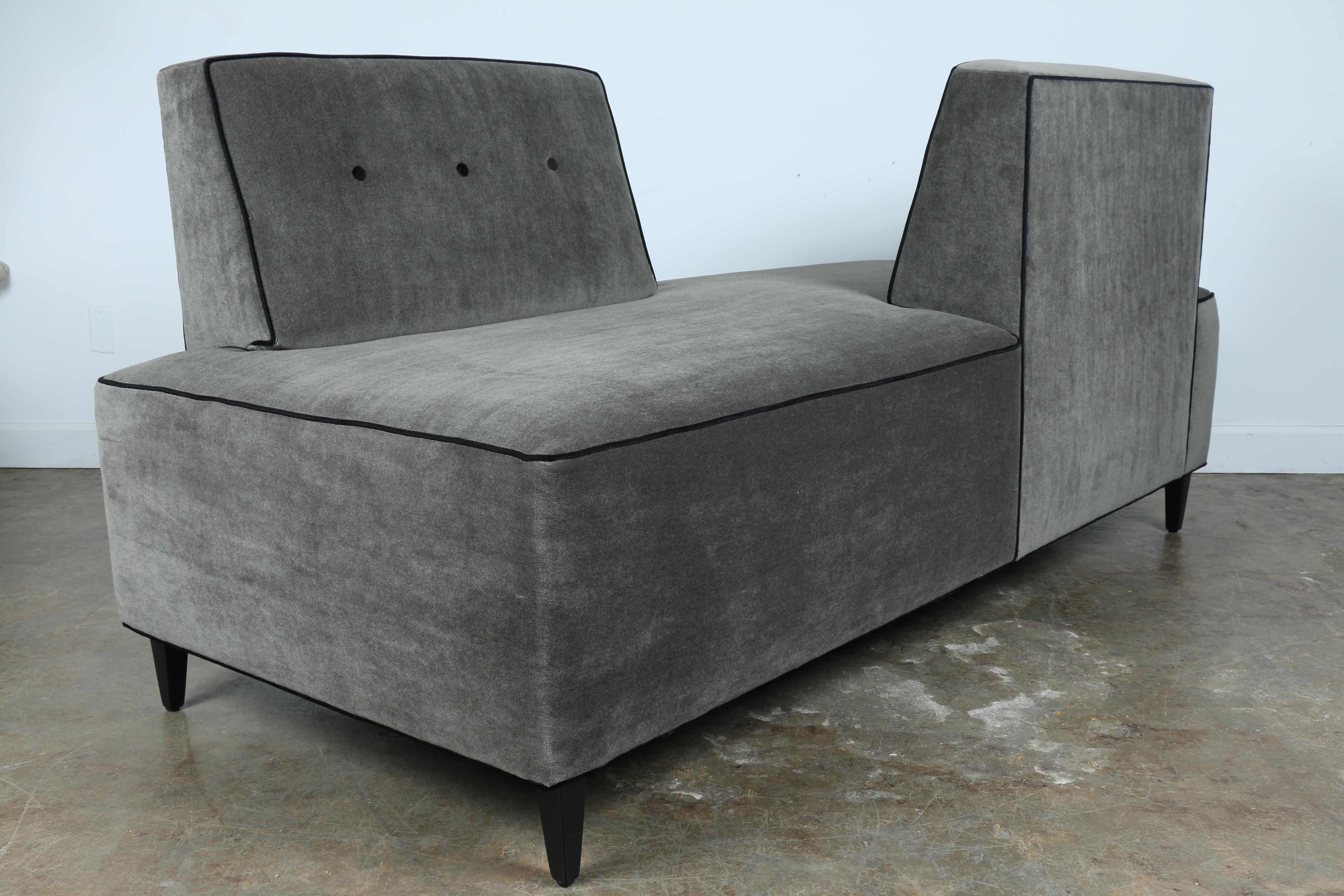Beautiful Just Reupholstered Modern Style Sofa. Has Been Reupholstered With  Mohair Fabric And Black Pipping