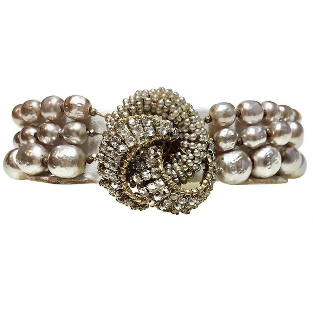 Miriam Haskell Miriam Haskell Baroque Faux-Pearl and Rhinestone Bracelet For Sale - Image 4 of 6