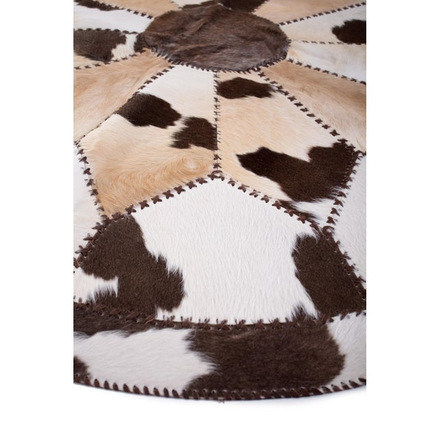 """Cowhide Patchwork Round Area Rug - 6'6""""x6'6"""" - Image 4 of 6"""