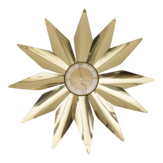 "Large German 30"" Midcentury Modern Brass Starburst Sunburst Wall Clock With Key For Sale"