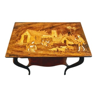 1900s Anglo-Indian Raj Rosewood Marquetry Parlor Table For Sale
