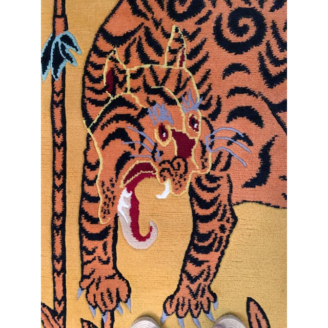 Asian Hand Knotted Indian Wool Tiger Rug, 4' X 6' For Sale - Image 3 of 7