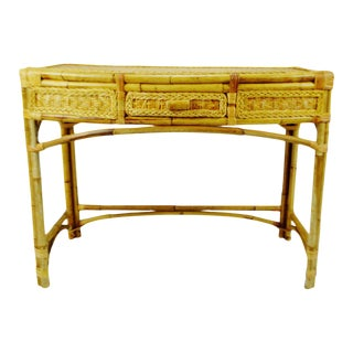 Mid Century Wicker and Bamboo Console Table Desk For Sale