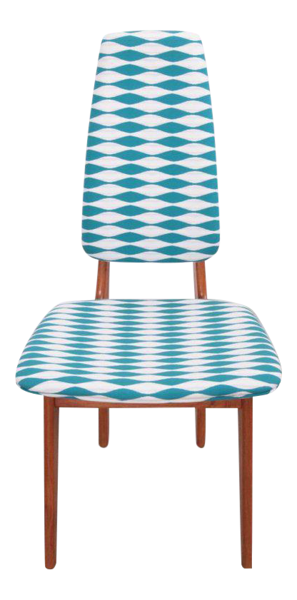 Teak Erik Buch High Back Dining Chairs With Jonathan Adler Fabric   Set Of  6