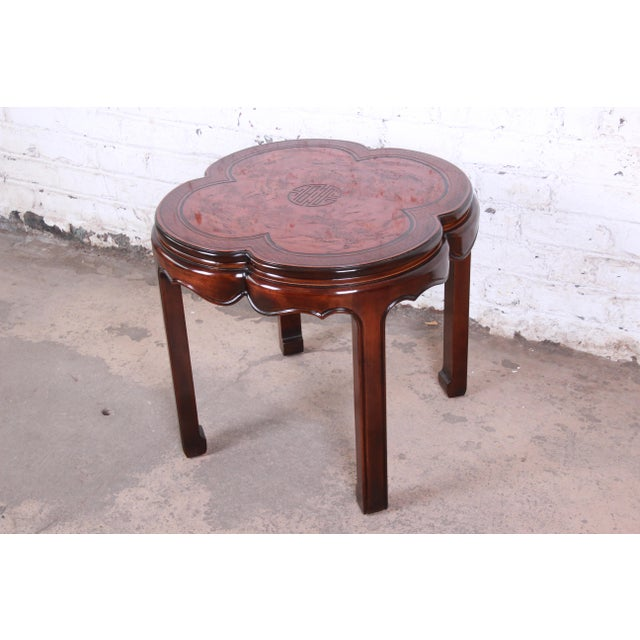 Brown Drexel Heritage Carved Mahogany Hollywood Regency Chinoiserie Clover-Shaped Occasional Table For Sale - Image 8 of 8