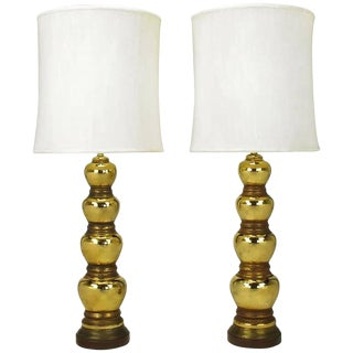 Pair 1930s Gold Glazed Porcelain Quadruple Gourd Table Lamps. For Sale