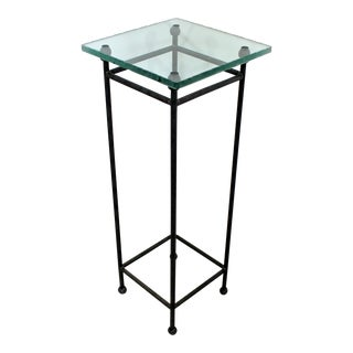 Contemporary Modern Square Steel & Frosted Glass Pedestal Display Stand 1980s For Sale