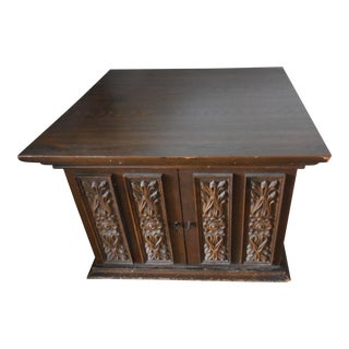 Vintage Carved Walnut End Table