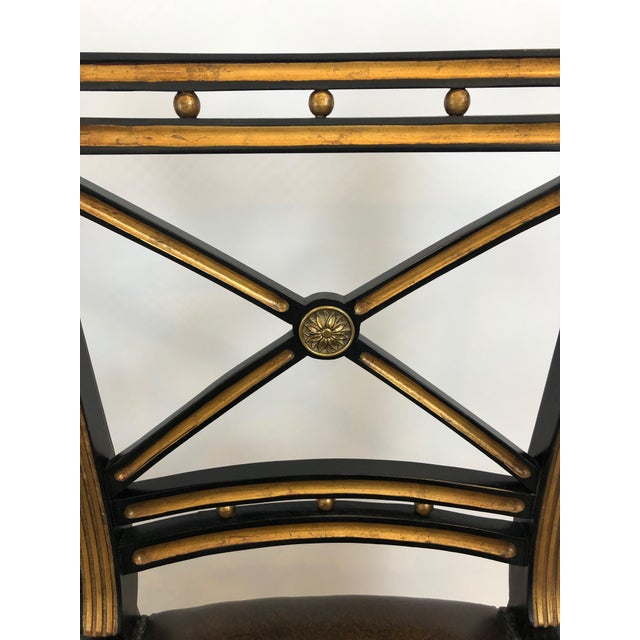1990s Regency Black and Gilded Armchairs With Leather Seats - a Pair For Sale - Image 5 of 13