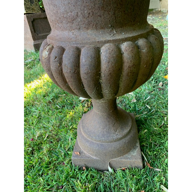 Antique Distrssed Iron Urns - a Pair For Sale - Image 4 of 6