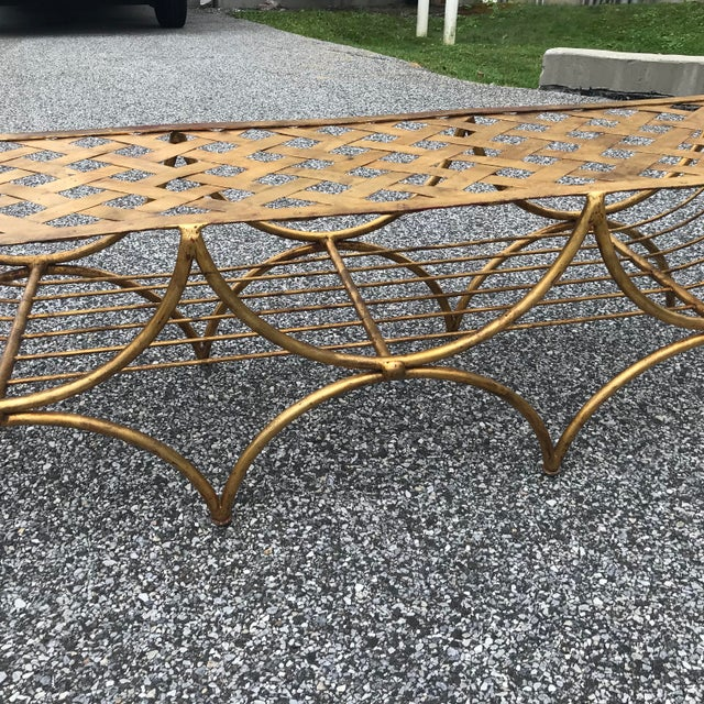 Vintage Mid Century Hollywood Regency Gilt Metal Bench For Sale - Image 4 of 13