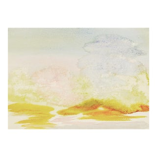 Cloudy Pastel Landscape 2-Sided Watercolor Painting For Sale