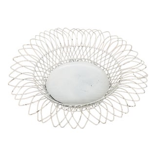 1950s French Style White Oval Wireware Cachepot With Liner For Sale