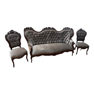 Victorian Carved Ornate Parlor Settee and Two Chairs Newly Upholstered - 3 Piece Set For Sale