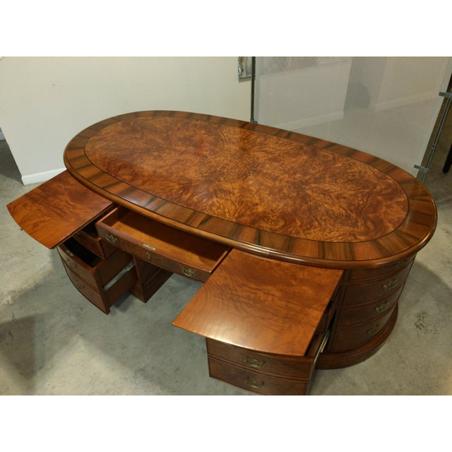 French Provincial Presidential Double Sided Desk - Image 9 of 11