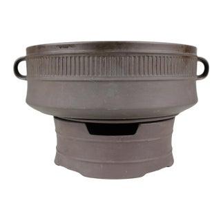 Large Dansk Flamestone Casserole With Warming Stand Ceramic Brown Jens Quistgaard Danish Modern For Sale
