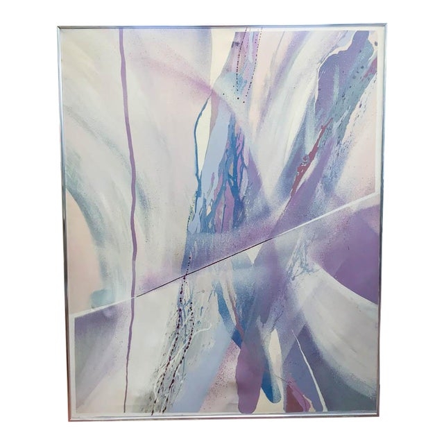 Large Mid Century Abstract - Colors in Purple and Blue - Image 1 of 8