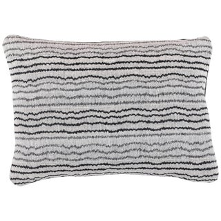 Indian Handwoven Pillow Sm. Ocean Stripe Wht/Blk For Sale