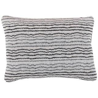 Indian Handwoven Pillow Sm. Ocean Stripe Wht/Blk For Sale