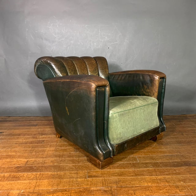 French Art Deco Green Leather Club Chair, 1930s For Sale - Image 4 of 12