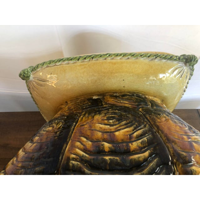 Vintage Italian Turtle Garden Stool Glazed Painted Terra Cotta For Sale - Image 11 of 12