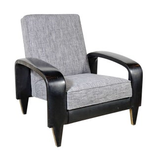 Italian Art Deco Gray Upholstered Club Chair For Sale