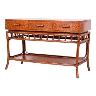 Midcentury Faux Tortoise Server or Console Table For Sale