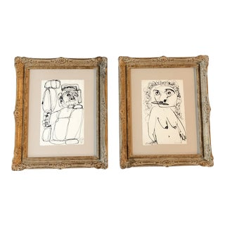 Gallery Wall Collection 2 Original Vintage Robert Cooke Abstract 1970's Portrait Ink Drawings French Frames- a Pair For Sale