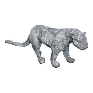 Life Sized Mirrored Mosaic Panther Sculpture For Sale