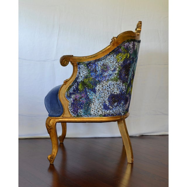 Antique French Gilded Louis XV Upholstered Cabriole Chair - Image 8 of 9