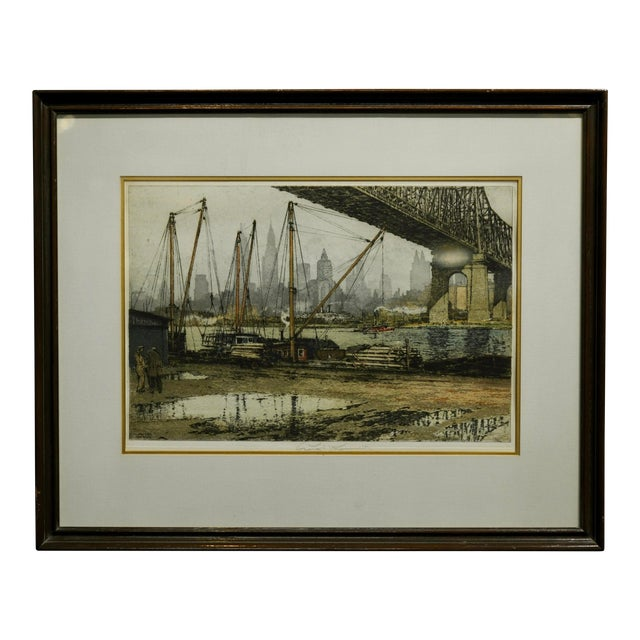 Luigi Kasimir -Queensborough Bridge New York-Original Color Etching C.1936 For Sale